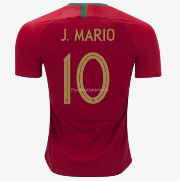 Portugal 2018 World Cup Home Joao Mario Soccer Jersey