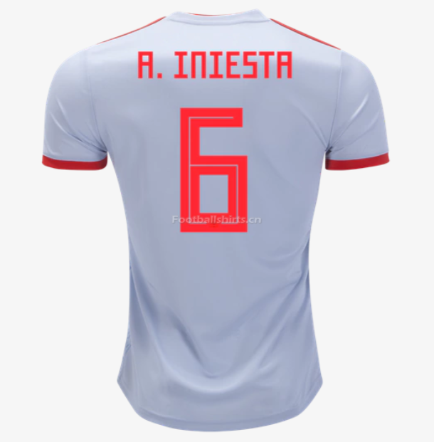 Spain 2018 World Cup Away Andres Iniesta Soccer Jersey
