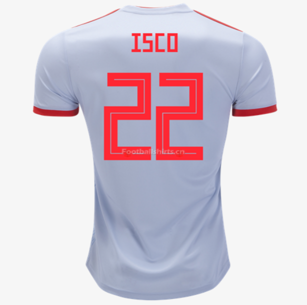Spain 2018 World Cup Away Isco Soccer Jersey