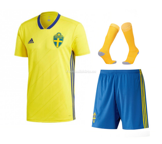 Sweden 2018 World Cup Home Soccer Jersey Kits (Shirt + Shorts +