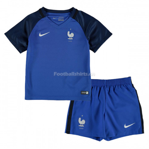 check out 0ece8 07c6a Kids France 2016/17 Home Soccer Kit Shirt + Shorts ...