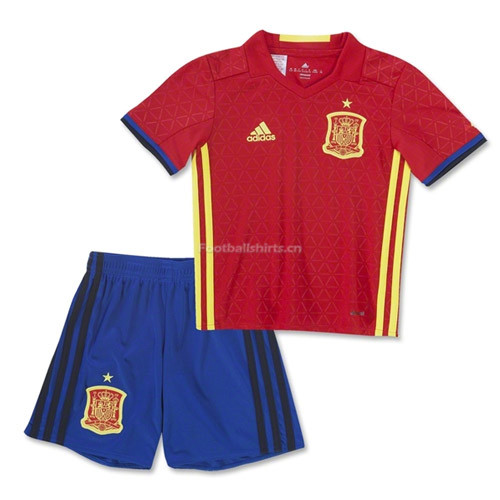Kids Spain 2016/17 Home Soccer Kit Shirt + Shorts