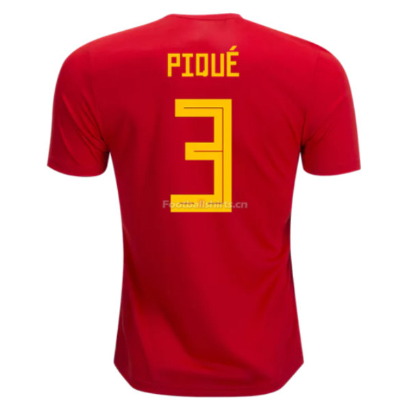 Spain 2018 World Cup Home Gerard Pique #3 Soccer Jersey