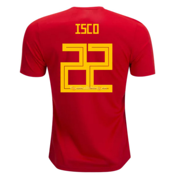 Spain 2018 World Cup Home Isco #22 Soccer Jersey