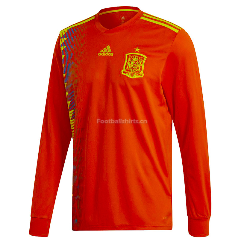 Spain 2018 World Cup Home Long Sleeve Soccer Jersey
