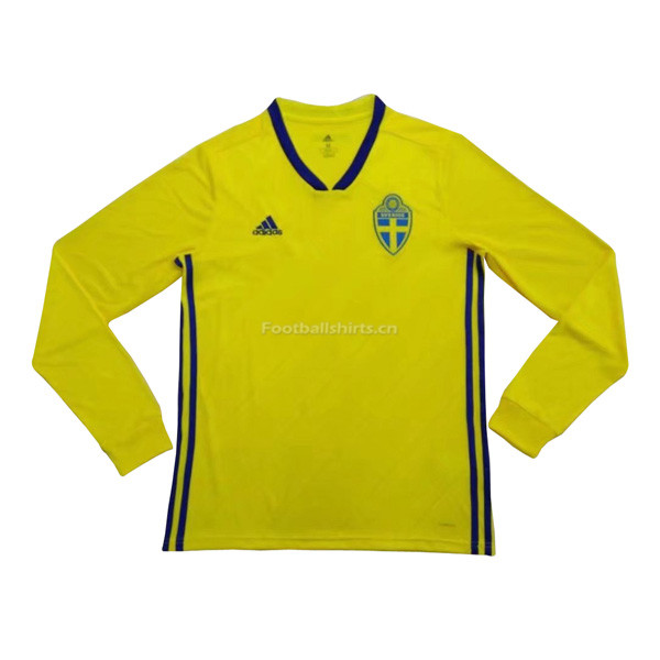 Sweden 2018 World Cup Home Long Sleeve Soccer Jersey