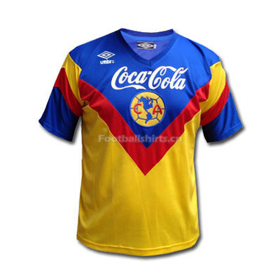 Club America 93-94 Home Yellow Retro Soccer Jersey