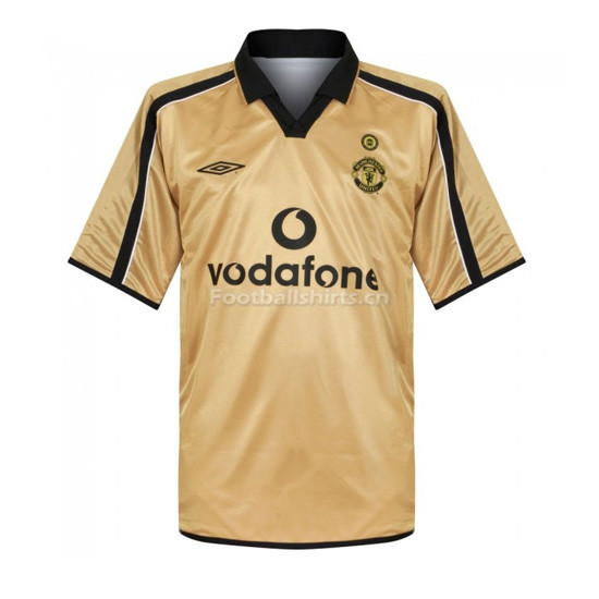 Manchester United 01-02 Away Gold Centenary Retro Soccer Jersey