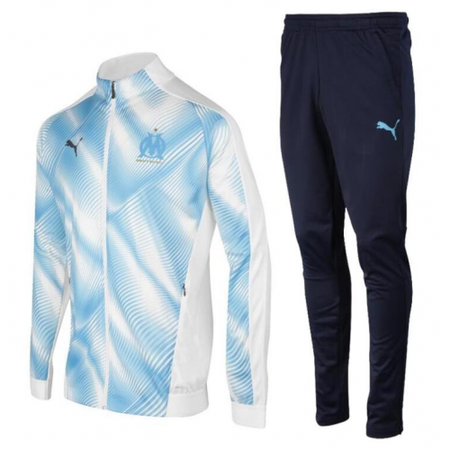 Olympique Marseille Training Jacket Suits White Blue 2019/20