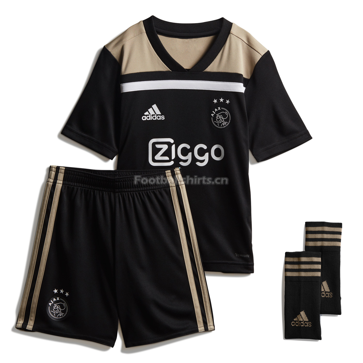 Kids Ajax Away Soccer Jersey Kit Shirt + Shorts + Socks 2018/19