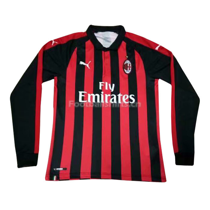 AC Milan Home Long Sleeve Soccer Jersey 2018/19