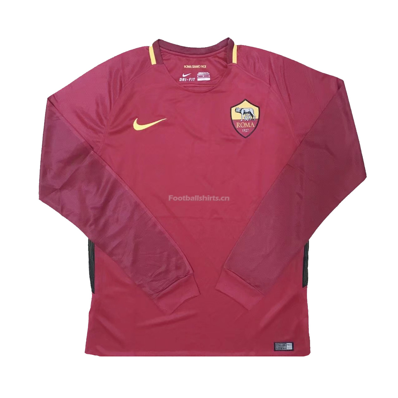 AS Roma Home Long Sleeve Soccer Jersey 2017/18