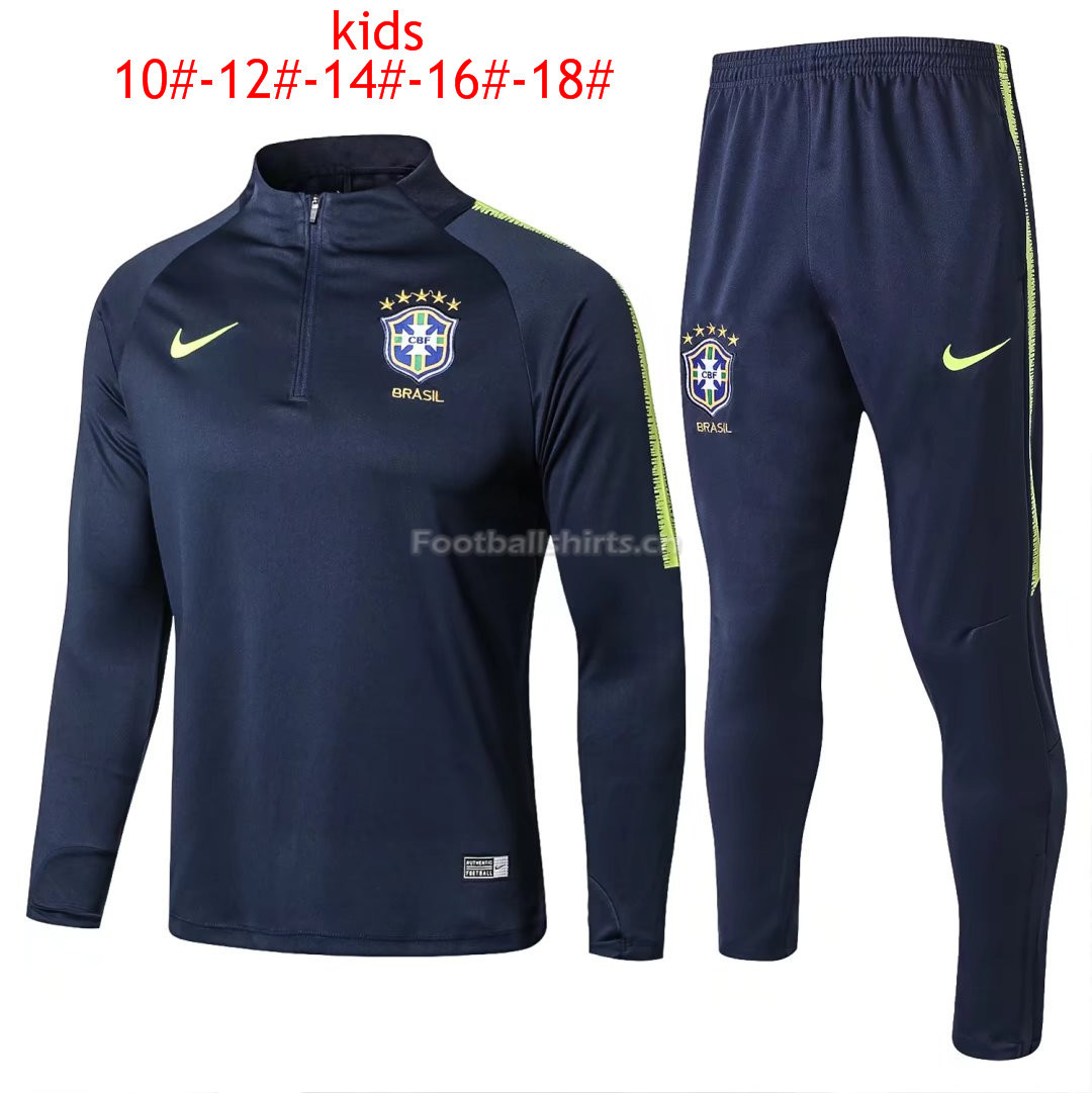 Kids Brazil FIFA World Cup 2018 Training Suit (Blue Zipper Shir