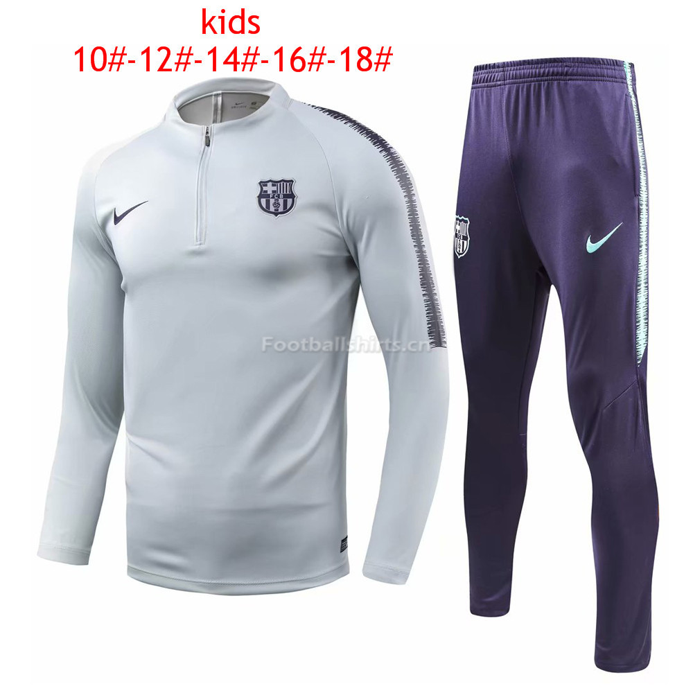 Kids Barcelona Light Grey Training Suit 2018/19