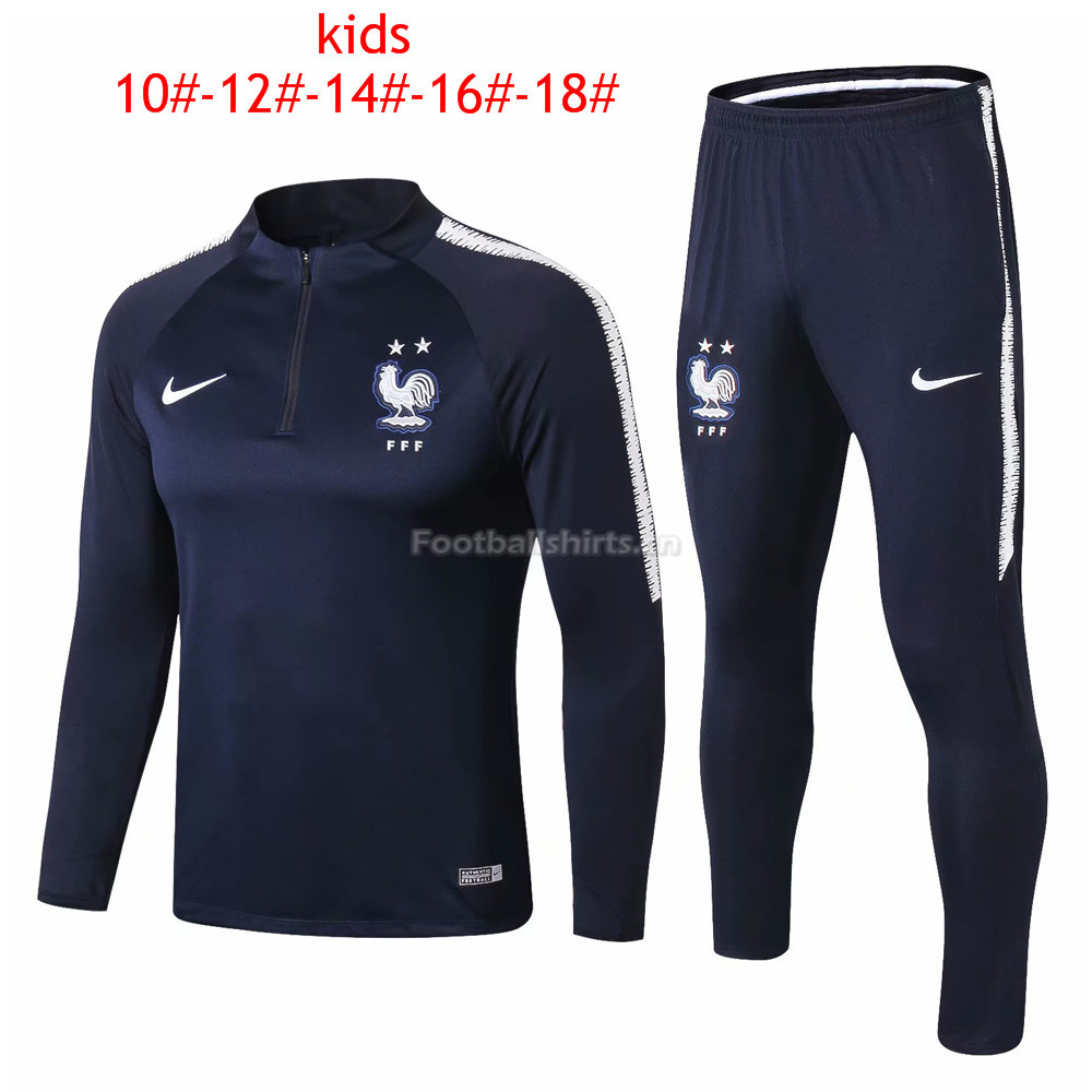 Kids France FIFA World Cup 2018 Zipper Blue Training Suit 2-Star