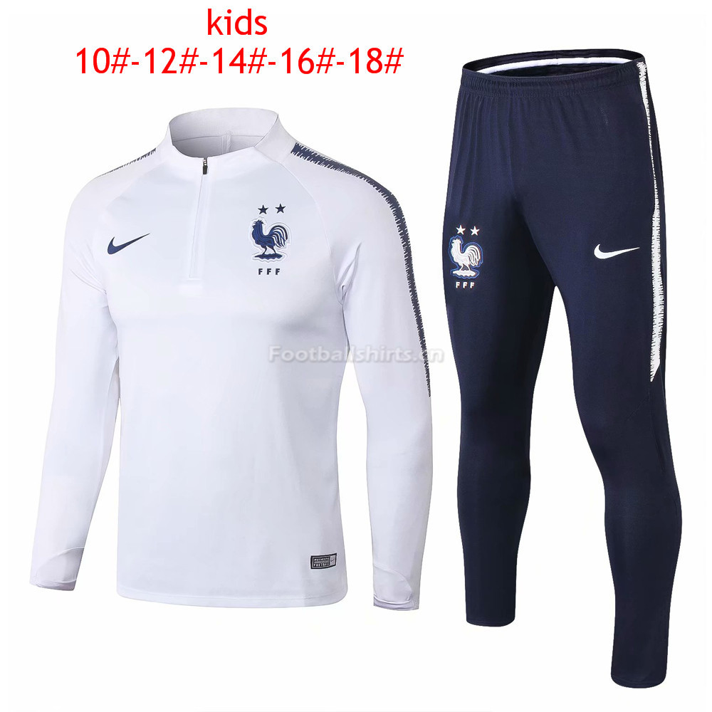 Kids France FIFA World Cup 2018 Zipper White Training Suit 2-Sta