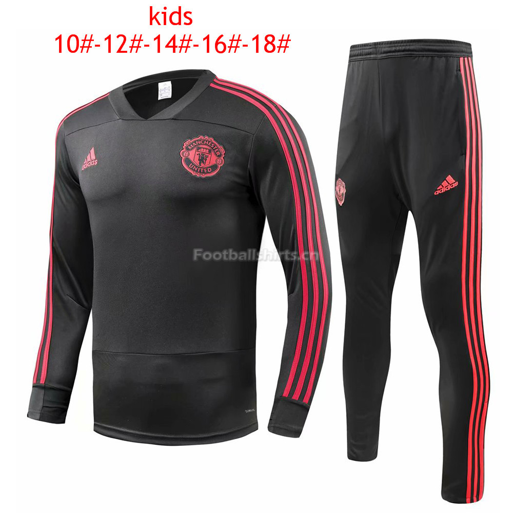 Kids Manchester United Black Training Suit 2018/19