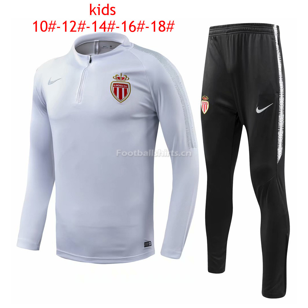 Kids AS Monaco White Training Suit 2018/19