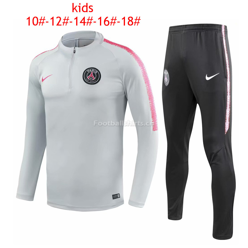 Kids PSG Light Grey Training Suit 2018/19