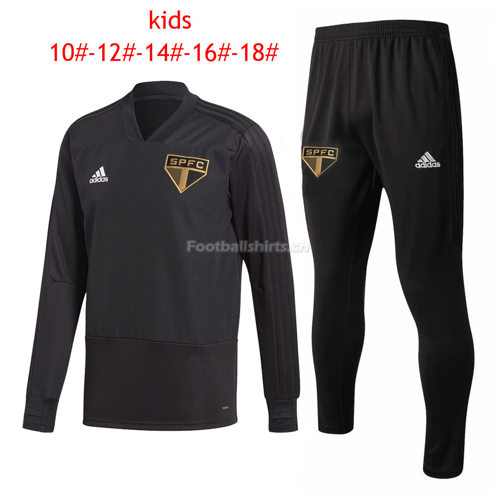 Kids Sao Paulo FC Black V-Neck Training Suit 2018/19