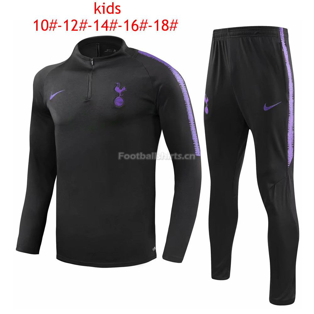 Kids Tottenham Hotspur Black Training Suit 2018/19