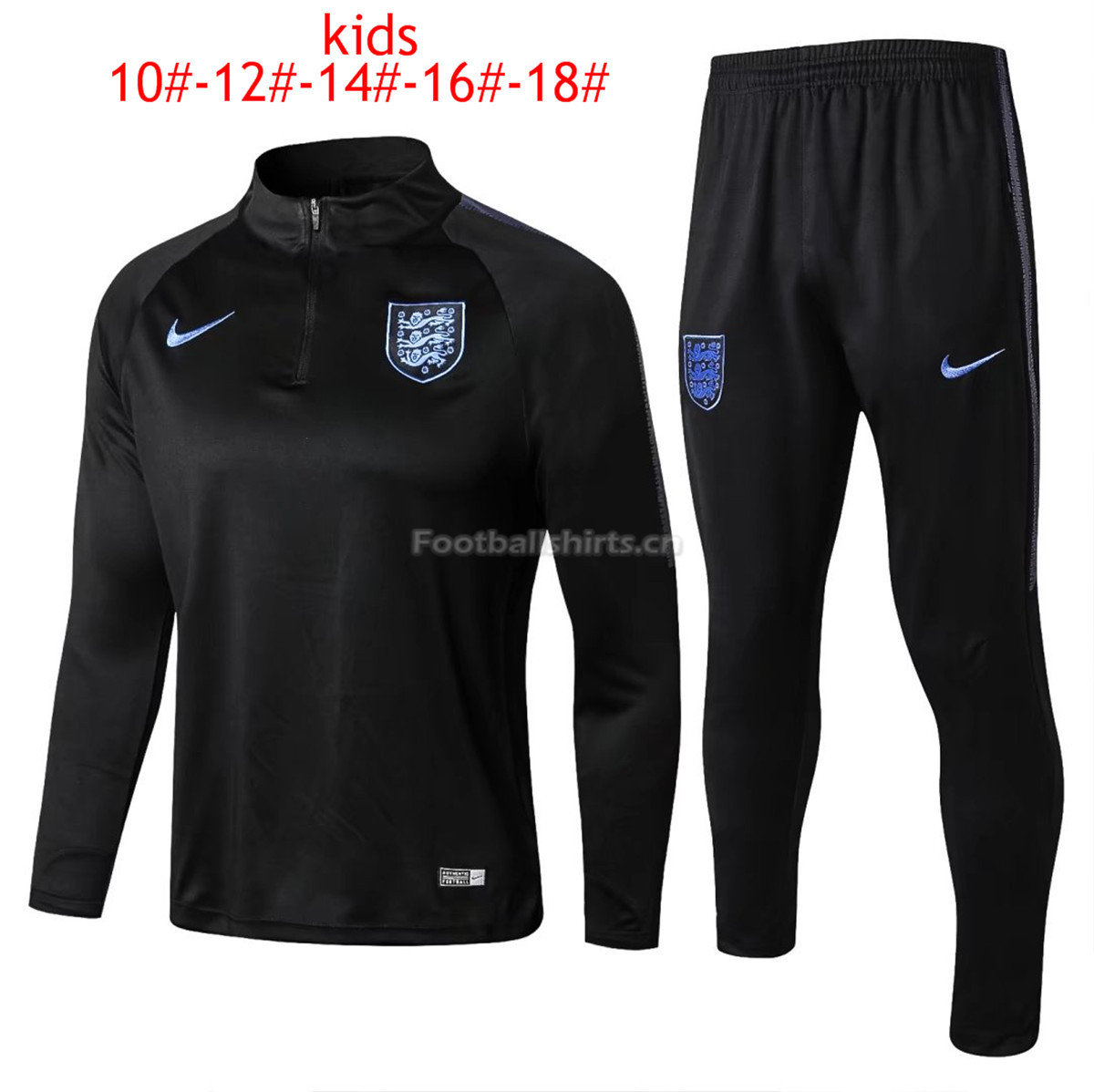 Kids England FIFA World Cup 2018 Training Suit Zipper Black