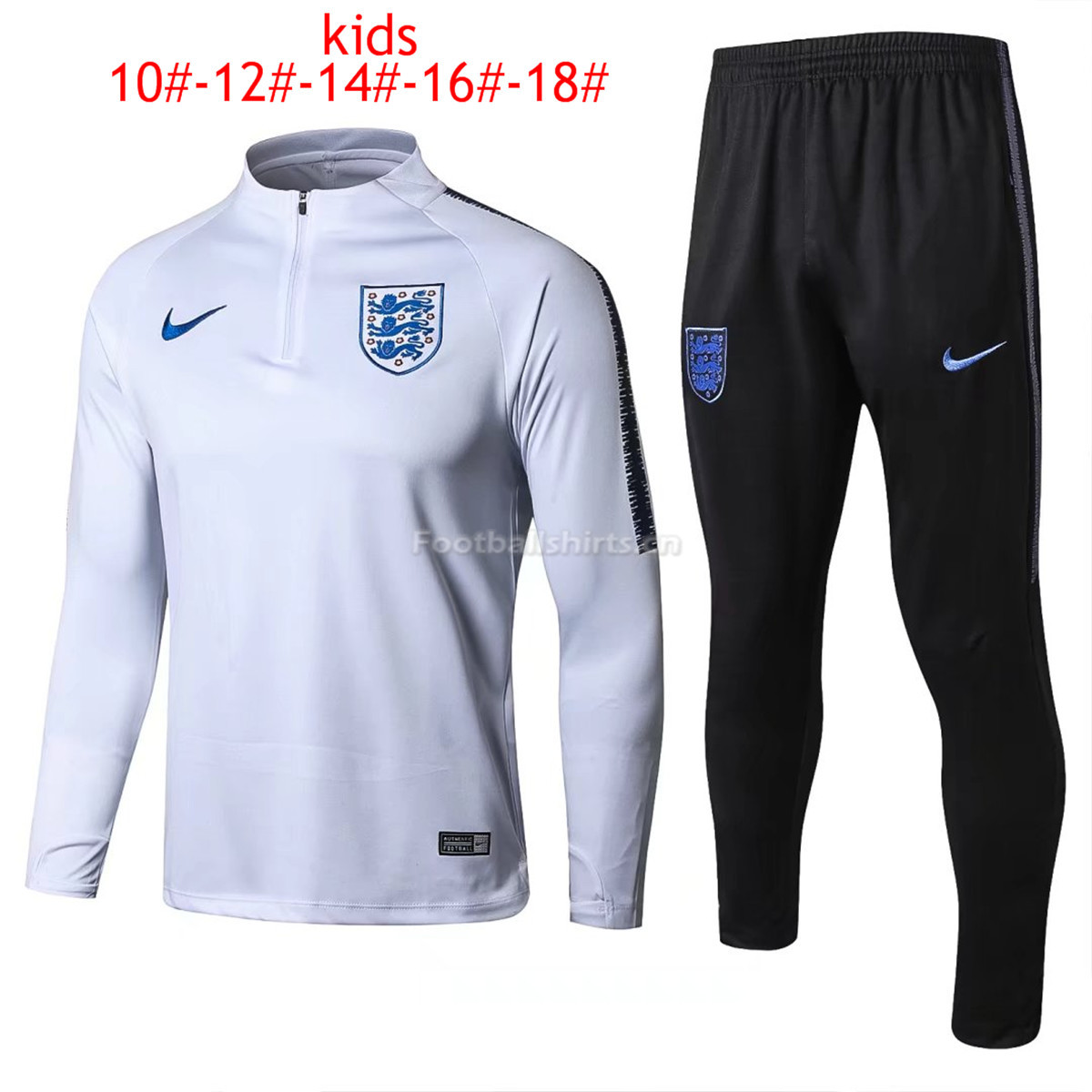 Kids England FIFA World Cup 2018 Training Suit Zipper White