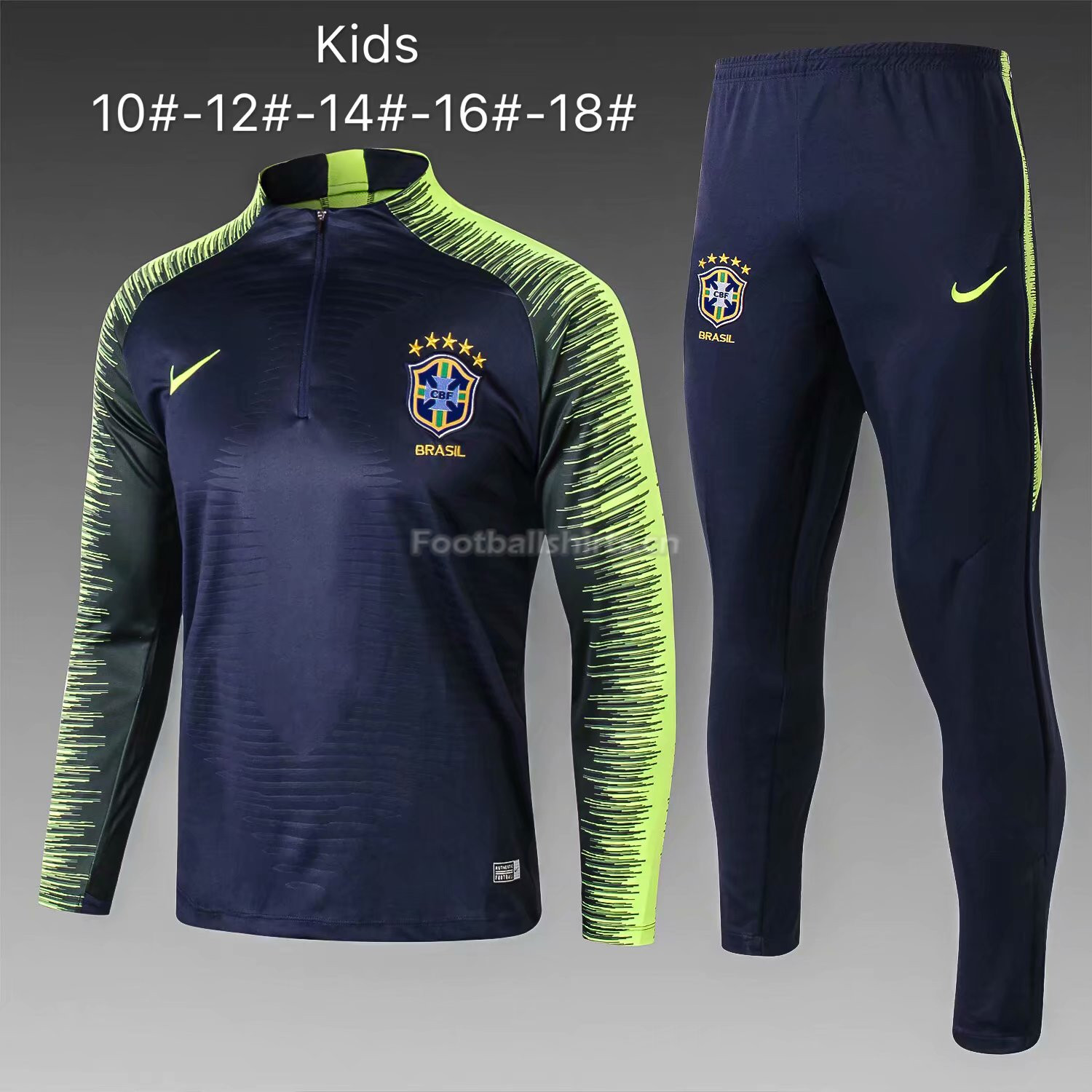 Kids Brazil FIFA World Cup 2018 Royal Blue Stripe Zipper Trainin