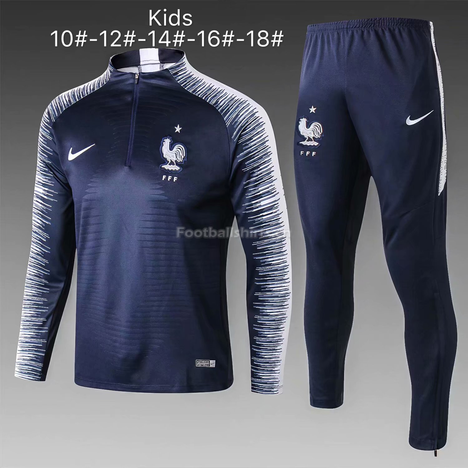 Kids France FIFA World Cup 2018 Blue Stripe Zipper Training Suit