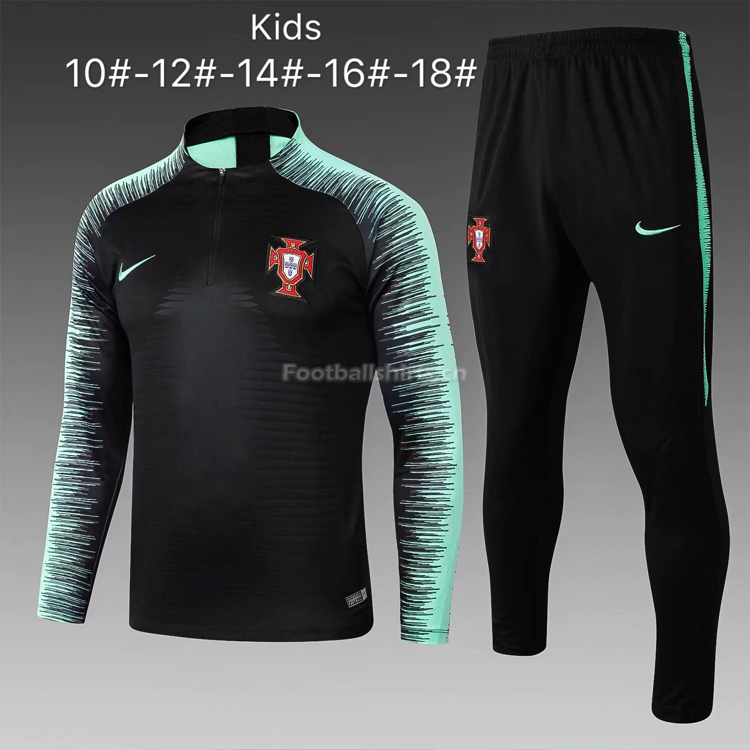 Kids Portugal FIFA World Cup 2018 Black Stripe Zipper Training S