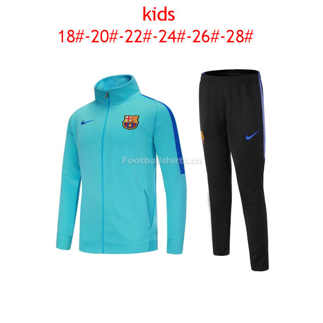 Kids Barcelona Jacket + Pants Suit Aqua Blue 2017/18
