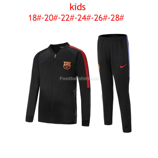Kids Barcelona Jacket + Pants Suit Black 2017/18