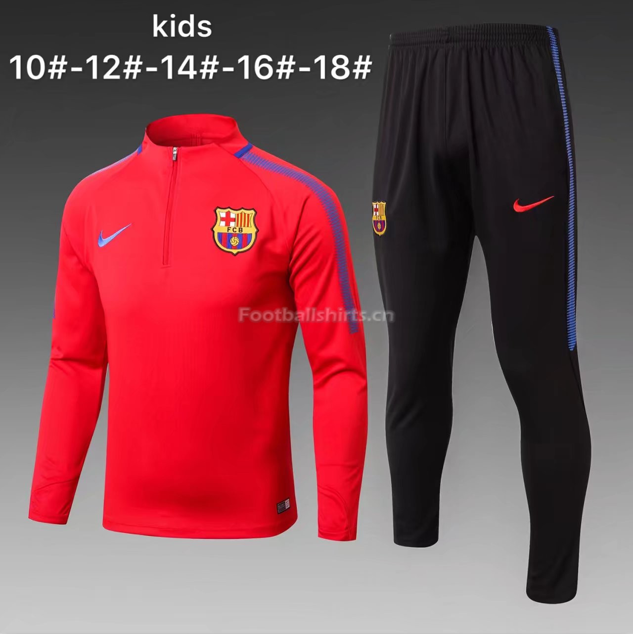 Kids Barcelona Training Suit Zipper Red 2017/18