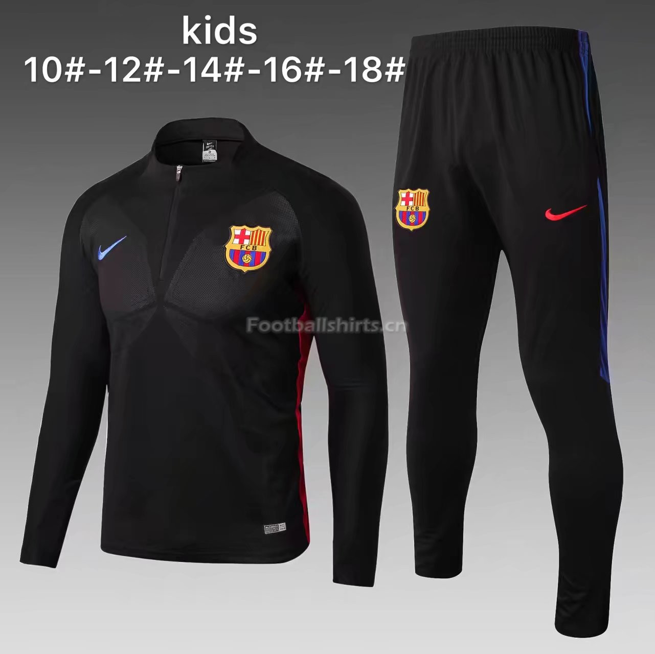 Kids Barcelona Training Suit Zipper Black Stripe 2017/18