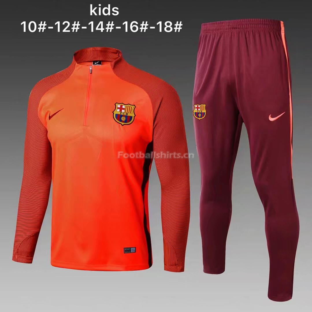 Kids Barcelona Training Suit Zipper Orange Stripe 2017/18