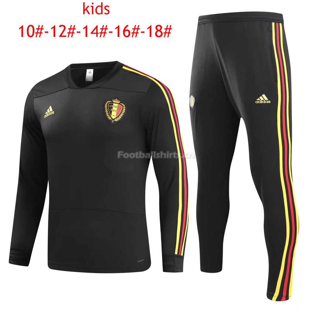 Kids Belgium FIFA World Cup 2018 Training Suit O'Neck Black