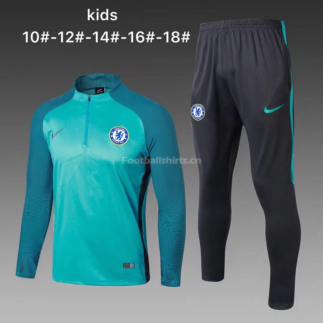 Kids Chelsea Training Suit Cyan Stripe 2017/18