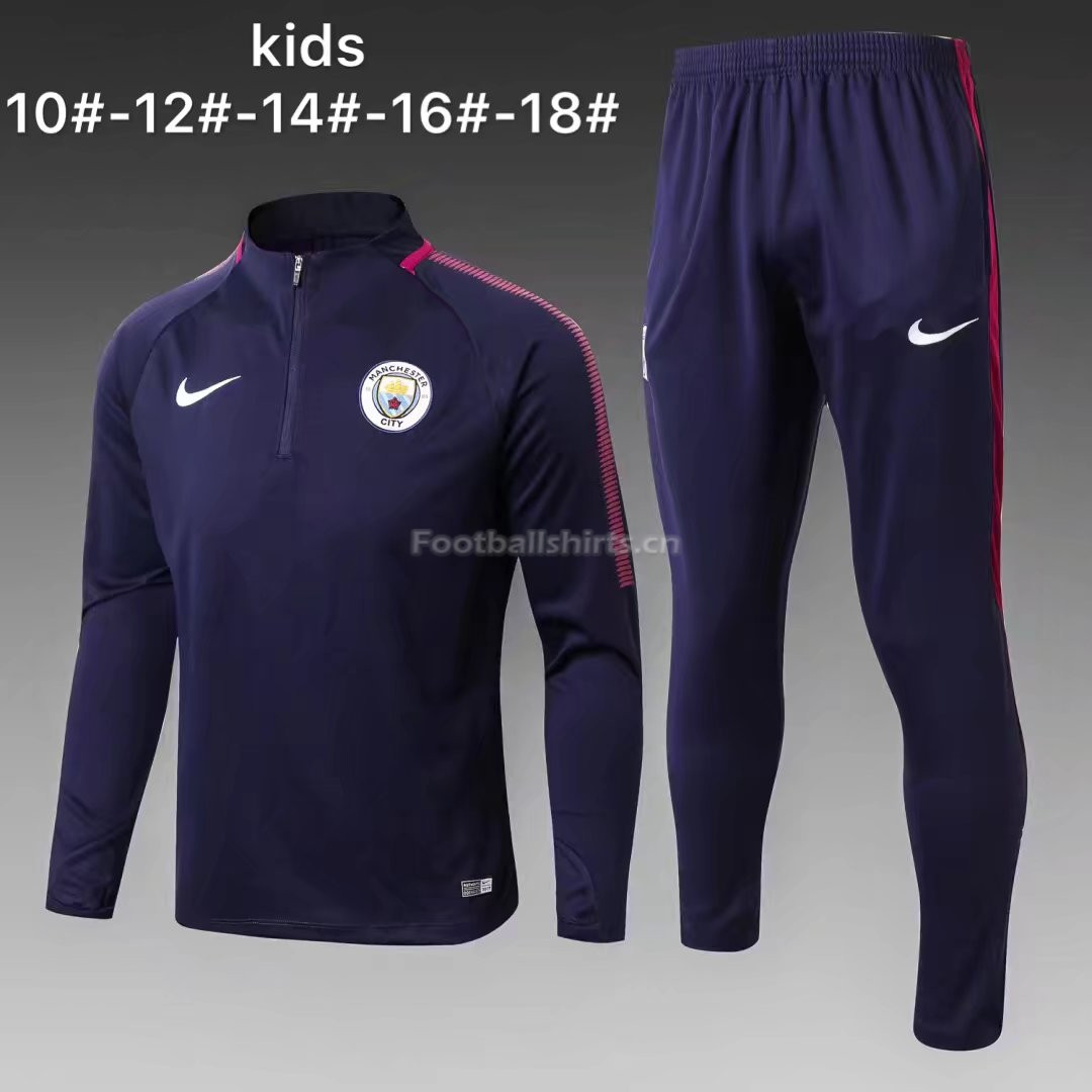 Kids Manchester City Training Suit Zipper Royal Blue 2017/18