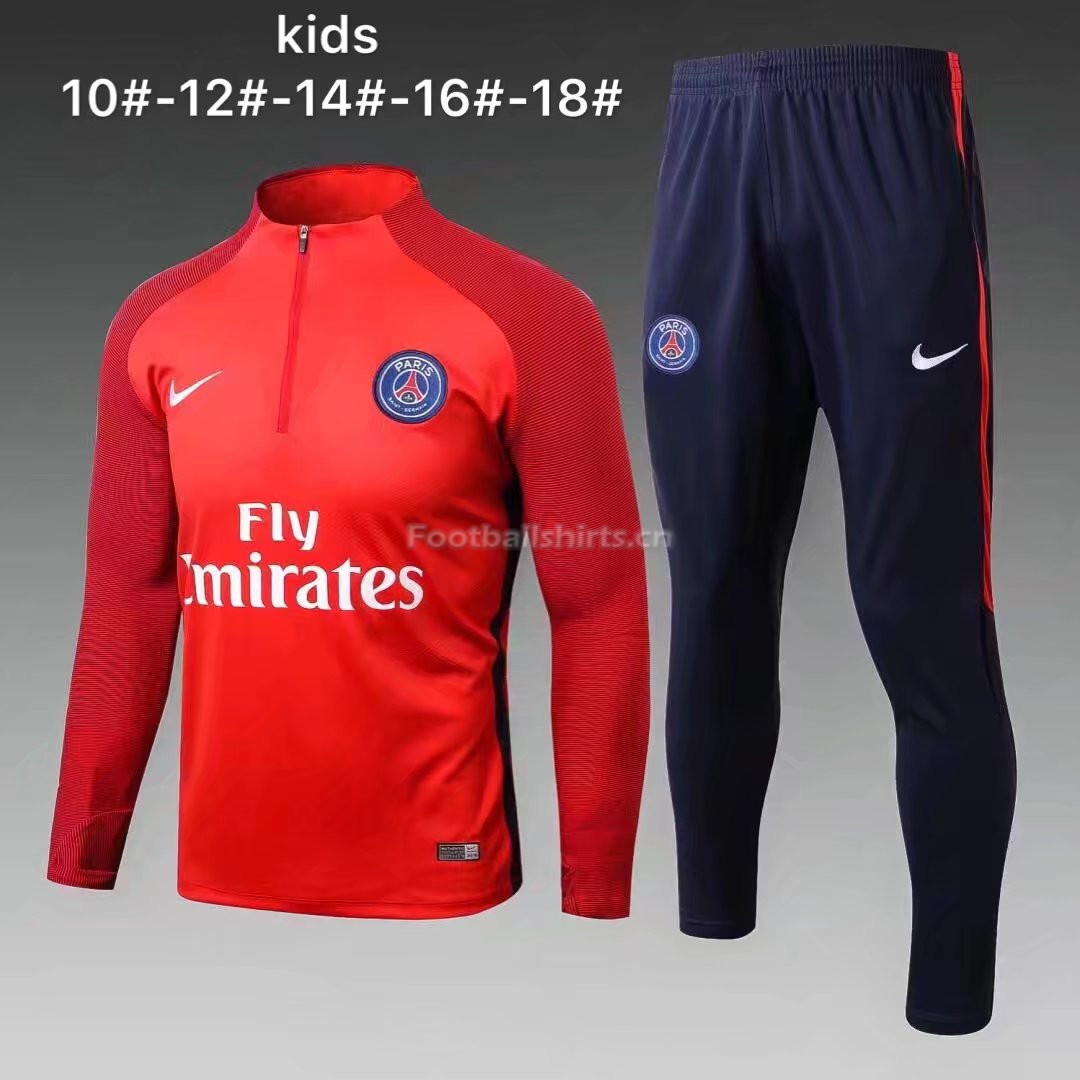 Kids PSG Training Suit Zipper Red Stripe 2017/18