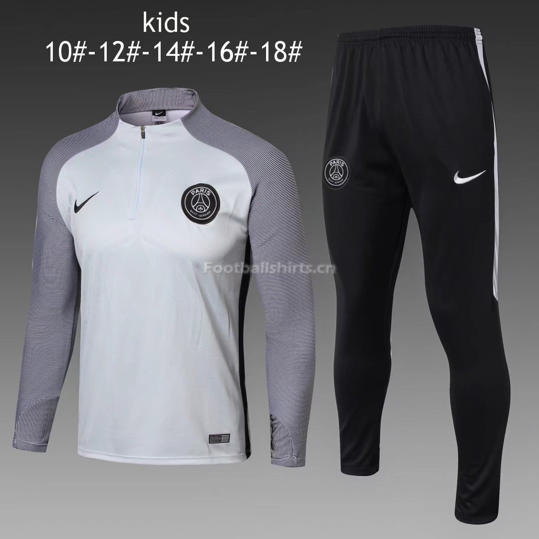 Kids PSG Training Suit Zipper Light Grey Stripe 2017/18