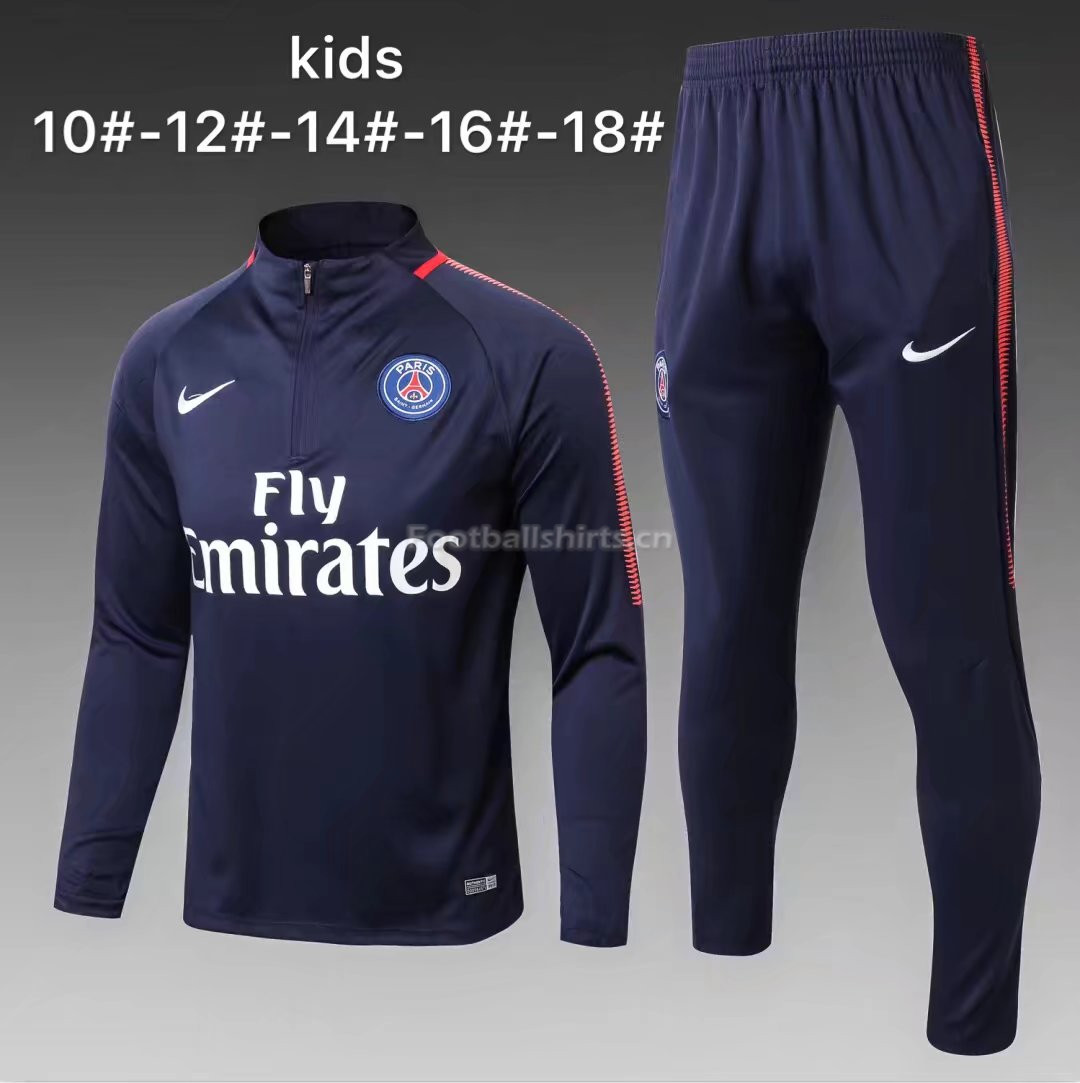 Kids PSG Training Suit Zipper Neck Royal Blue 2017/18