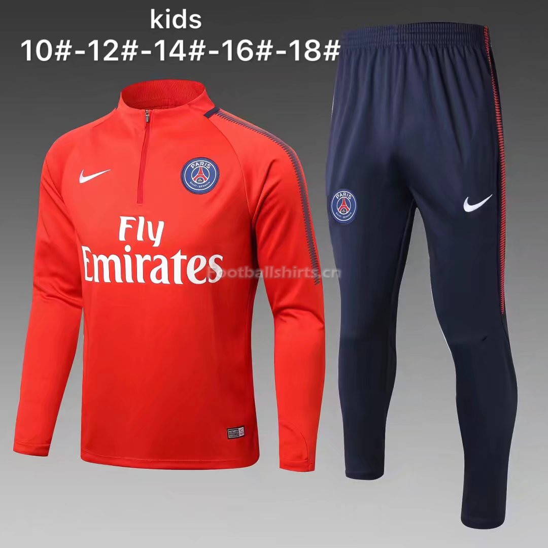 Kids PSG Training Suit Zipper Red 2017/18