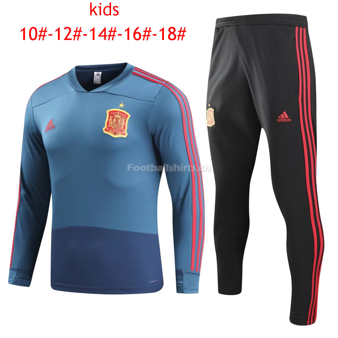 Kids Spain FIFA World Cup 2018 Training Suit O'Neck Blue