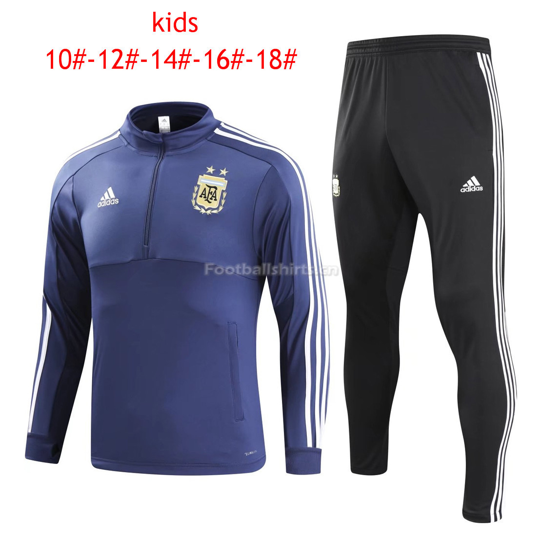Kids Argentina FIFA World Cup 2018 Training Suit Zipper Blue