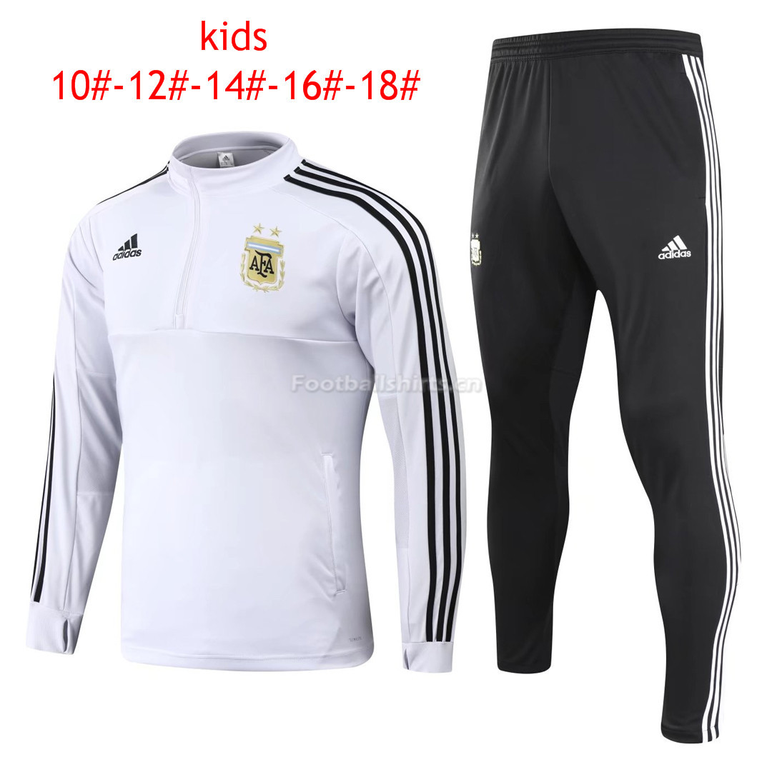 Kids Argentina FIFA World Cup 2018 Training Suit Zipper White