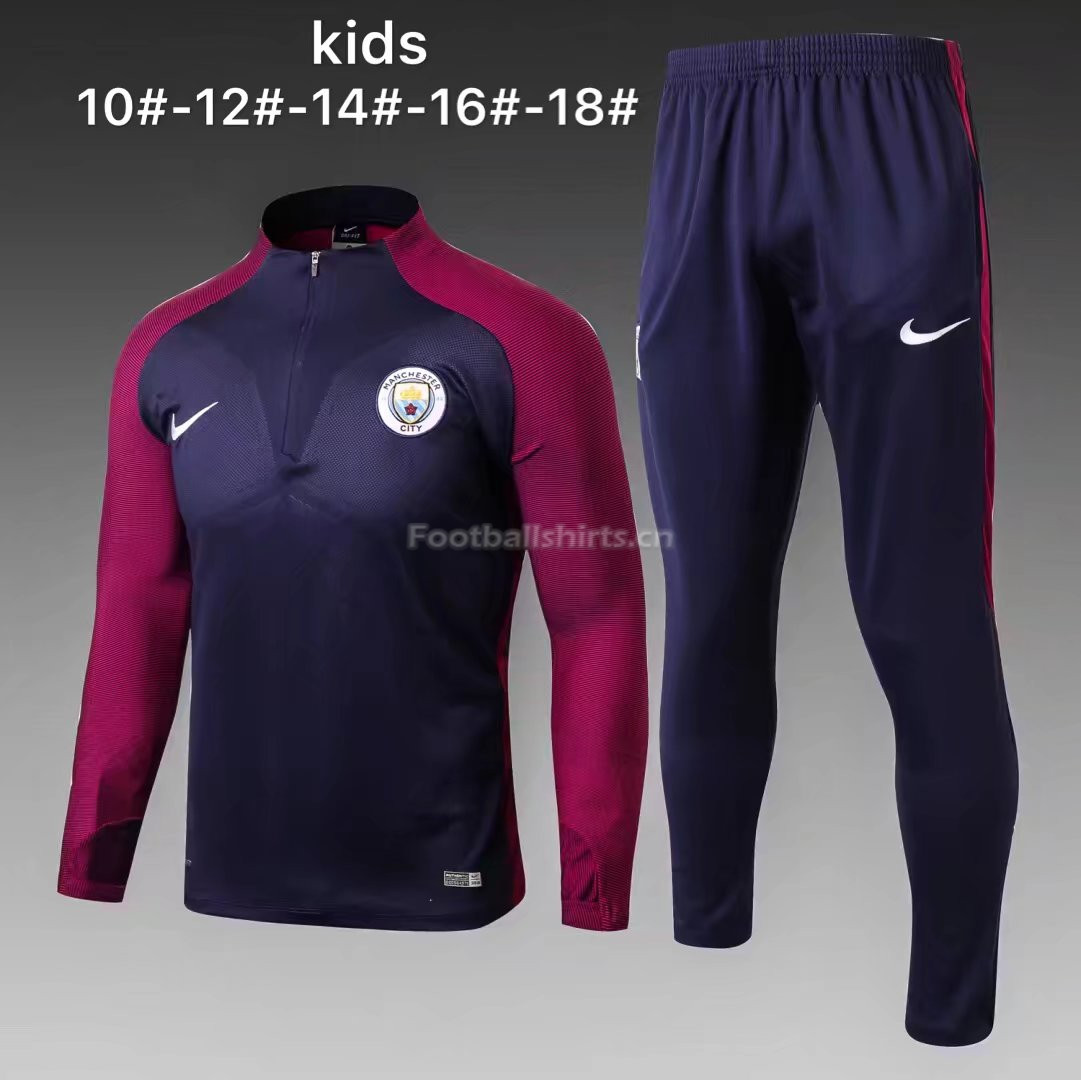 Kids Manchester City Training Suit Zipper Royal Blue Stripe 2017
