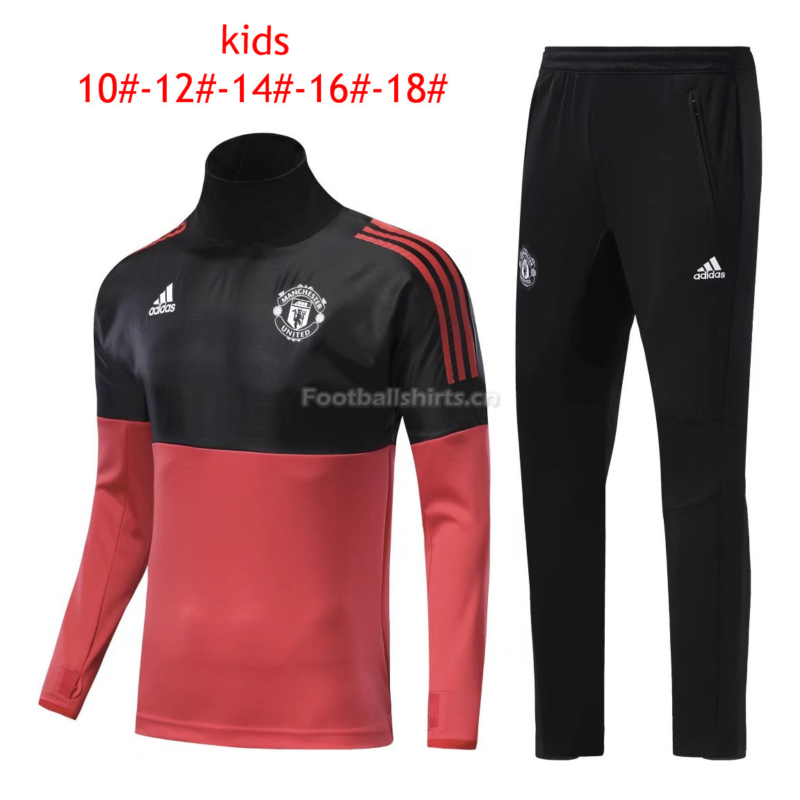Kids Manchester United Training Suit Turtle Neck Black/Red 2017/