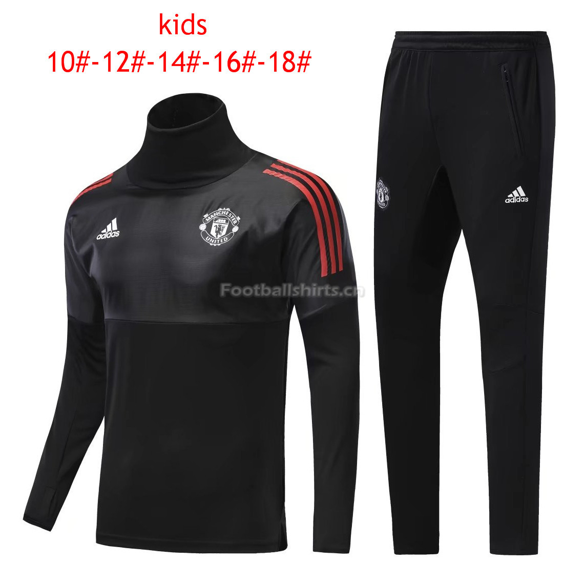 Kids Manchester United Training Suit Turtle Neck Black 2017/18