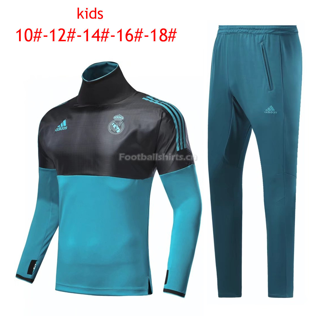 Kids Real Madrid Training Suit Turtle Neck Champions League Blac