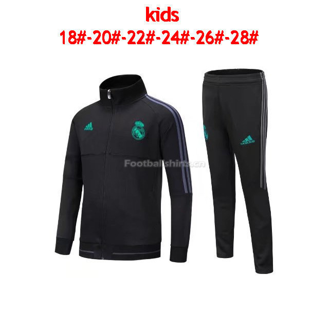 Kids Real Madrid Black Jacket + Black Pants Suit 2017/18